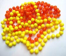 Lot de 2 longs colliers sautoir de perles en résine jaune orange bijou vintage P