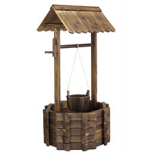 Wooden Wishing Well Bucket Flower Planter Patio Garden Outdoor Home Decor New