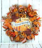 FRONT DOOR DECO MESH WREATH AUTUMN FALL SIGN PUMPKINS LEAVES HARVEST BLESSINGS
