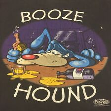 Vintage Booze Hound Large T-shirt Cartoon Fun Beer Liquor Spirits Lounge Band