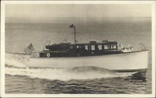 Power Boat Yacht People Waving - Flag c1920s Real Photo Postcard
