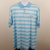 Columbia Omni Shade Blue Striped Men's Adult S/S Polo Shirt Size XLT XL Tall