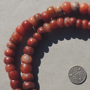 20.5 inch 52.3 cm strand ancient calcite agate stone beads mali #4092