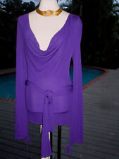 Gucci Royal-Purple Plunging-V Cowl Neck Blouse Top w/Scarf Ties Belt XS 0-2 FR34