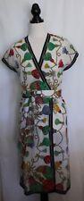 VINTAGE 1980s ~ Botto Italy White w Multicoloured Tassel Print Cotton Dress 12