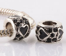 2pcs silver love black LAMPWOR CZ spacer beads fit Charm European Bracelet #E969