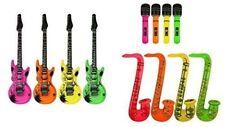 Inflatable Guitar Saxophone Microphone Blow Up Fancy Dress Party Prop lot set 3