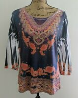 Katie's Kloset Women's Blouse Size XL Boho Multicolor Embellished Top 3/4 Sleeve