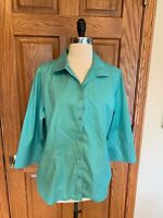 Chicos No Iron Shirt 2 Large Greet Crisp Cotton Blouse Top 3/4 Sleeve