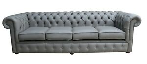 Chesterfield Uk Handmade 4 Seater Settee Couch Silver Grey Real Leather Sofa