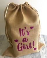 KEEPSAKE NEWBORN BABY SACK, Glitter It's a Girl or Boy Love Heart Design, Gift