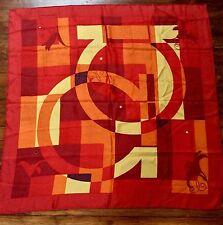 Large Maroon Gancio-Buckle-Logo Print Silk Scarf @ SALVATORE FERRAGAMO