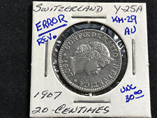 1907 SWITZERLAND 20 CENTIMES KM#29