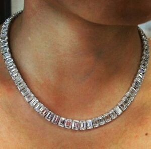 925 Sterling Silver Solid Beautiful Gouges Emerald Eternity Wedding Necklace