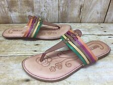 Born Strappy Multi-Color Leather Thong Sandals Women's sz 8