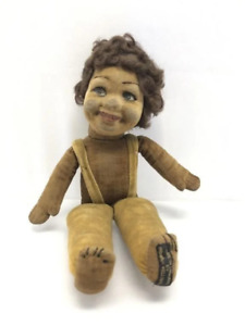1930's Norah Wellings England Black Doll, hand-painted RARE ORIGINAL TAG on foot