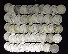 1917  MERCURY DIMES AVERAGE CIRCULATED FULL ROLL 50 SILVER COINS
