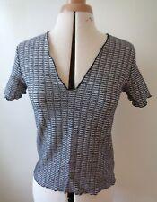 Zara women shimmer thread Jacquard T-Sirt short sleeves top size EUR USA M