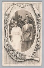 Young Couple RPPC Cincinnati Estate—Elaborate Border—Antique NOKO 1910s