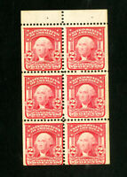 US Stamps # 319G F-VF Pane of 6 OG VLH