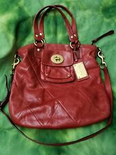 COACH RED KIRA QUILTED SLIM LEATHER SHOULDER TOTE BAG PURSE SATCHEL 14458