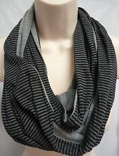 RIKKA Cotton Jersey Infinity Scarf Stripe Solid Heathered BLACK GREY