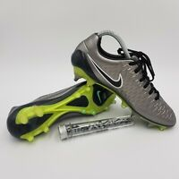 Nike Magista Opus FG UK Size 7 Football Boots 649230 011 Silver/Green w/ Studs