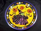 """Round tin Halloween candy bowl dish Witch pumpkins ghosts candy corn 10"""""""