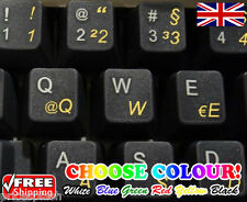 German Transparent Keyboard Stickers Computer Laptop 6 Colours Red Blue White