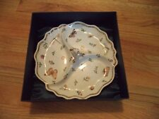 I. Godinger & Co Primavera Butterfly Gold Accents 3-section tray with Box #9780