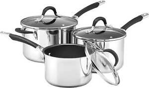 Circulon Momentum 3 Piece Saucepan Set Stainless Steel Suitable for Induction