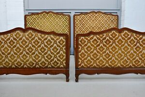 Pair of Single French Louis Upholstered Beds for reupholster