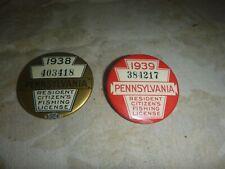 2 Vintage 1938 & 1939 Pa Pennsylvania Resident Fishing License Button Pin ~ Vgc