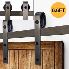 6.6FT Sliding Barn Door Hardware Track Kit Antique Door Hardware Roller Set