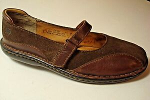 BORN Womens Sz 7.5/ 38.5 M/W Brown Suede Leather Comfort Mary Jane Flats Shoes