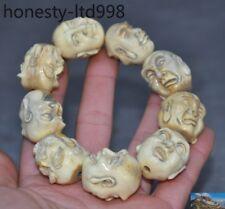 Chinese Old Cattle bone carved 9 buddha head monk pray Bracelets Buddha beads