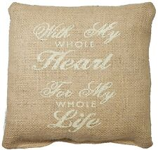 "WITH MY WHOLE HEART, FOR MY WHOLE LIFE Small Burlap Pillow - 8"" x 8"""