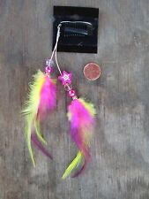 HANDMADE USA Feather Hair Extensions ONE OF KIND Star Hot Pink Yellow CLIP ON