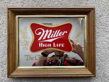 Vintage Miller High Life Beer Glass Pub Mirror 1980's ~mancave~ Advertise Sign
