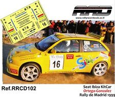 DECAL/CALCA 1/43; Seat Ibiza KitCar; Ortega-Gonzalez; Rally de Madrid 1999