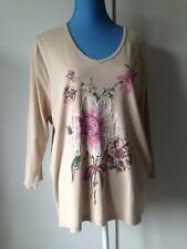* Women's Evans Size 22/24 Long Sleve Beige Floral Top *