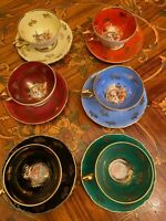 Vintage 6 Cups 6 Saucers German R Bavaria Porcelain Coffee Set