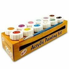 NEW Acrylic Painting Set - Pack of 12 Colour Paint Set Multi Colour With Brush