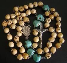 Turquoise & Tibet oxen Bone Skull Beads ROSE ROSARY CROSS NECKLACE CATHOLIC GIFT