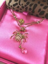 NWT Betsey Johnson golden PINK SPIDER necklace rose crystals teardrop xoxo