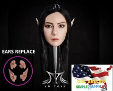 1/6 Fairy Elf Female Head Sculpt Detachable Ears SUNTAN for Female Figure PHICEN