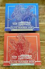 2021 Pokemon Battle Styles 2X Elite Trainer Caja ETB (1 Rojo y 1 Azul) En Mano