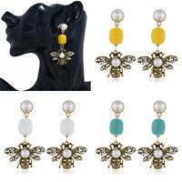 New Women Pearl Rhinestone Bee Statement Drop Dangle Stud Earrings Jewelry