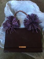 New Ted Baker Leather Pom Pom Shoulder Bag £199 Deep Purple Burgundy