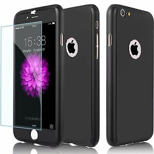 IPHONE 6 7 7PLUS 5 5SE HYBRID 360° HARD ULTRA THIN CASE+TEMPERED GLASS COVER